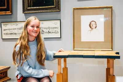 Ipswich High School Three Dimensional Design pupil Millie Harpur with her table sculpture