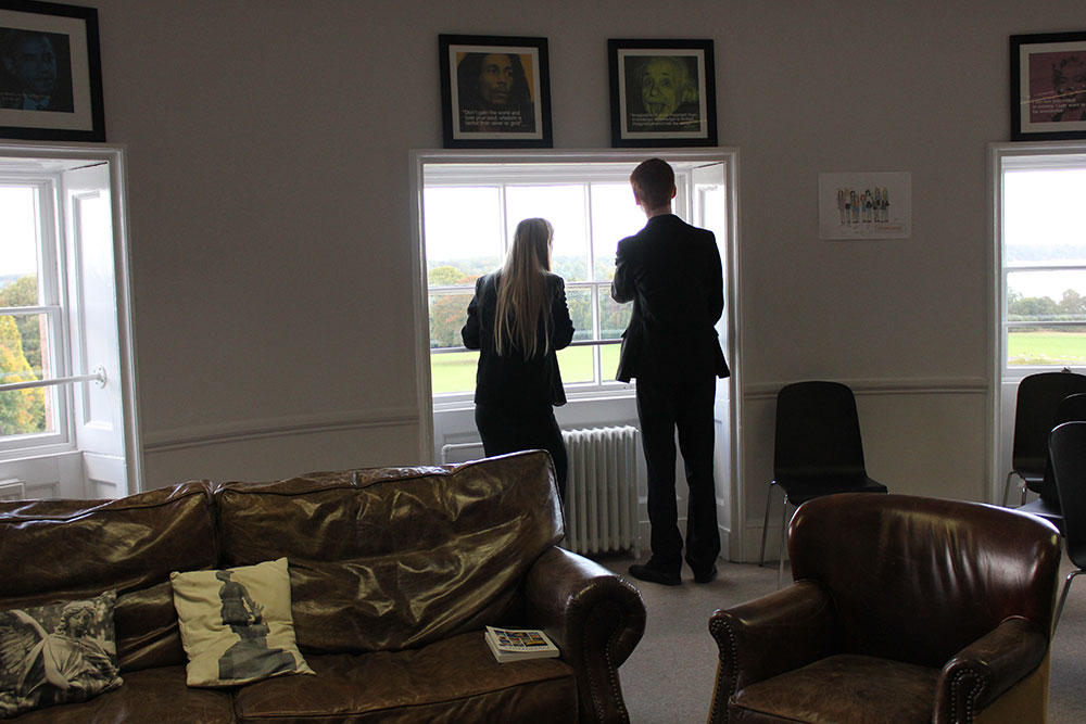 Ipswich High School Sixth Formers look out over the school's 84-acre campus