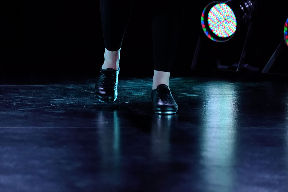 An Ipswich High School Dance pupil in action, with dancing shoes