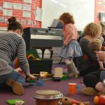 A fun music session at Ipswich High School's Parent and Toddler group