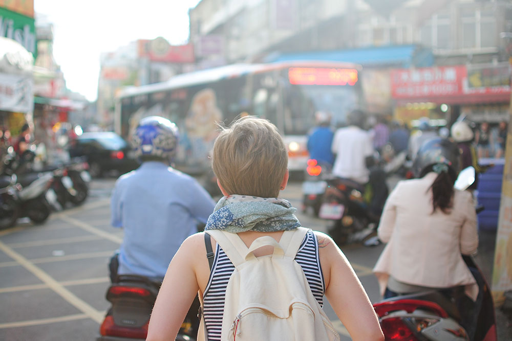 A young woman travelling
