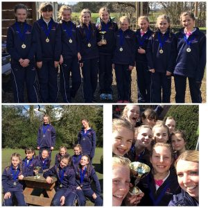 Photo montage of Ipswich High School netball team at Condover Hall