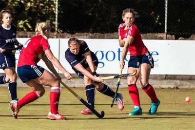 Head of PE at Ipswich High School, Mrs Wheelhouse, playing for Ipswich Seven hockey team
