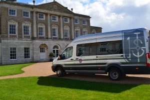 Ipswich High School coach on the drive of Woolverstone Hall