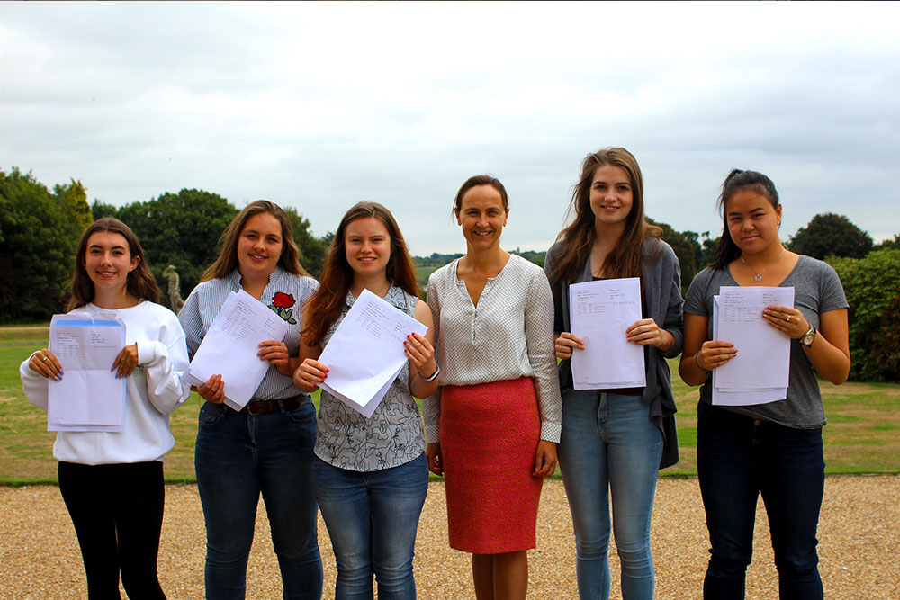 Pupils holding up exam results